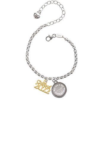 Delight Jewelry Gold Tone Class of 2022 Run Like a Girl - Strong and Fierce Engraved Bracelet