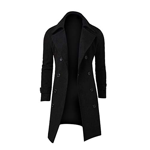 Maryia Men's Classic Notched Collar Lapel Double Breasted Wool Blend Pea Coat Stylish Slim Fit Overcoat Suit Jackets Black