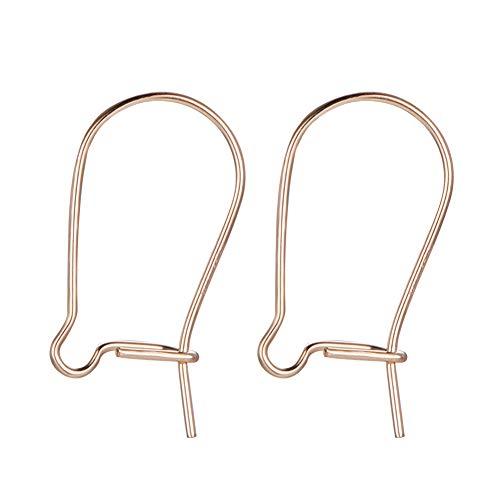 BENECREAT 10 PCS Gancho de Pendientes Relleno de 14K Oro Forma de Anillo Irregular Gancho de Latón para Mujeres Niñas - 14.5x0.5mm