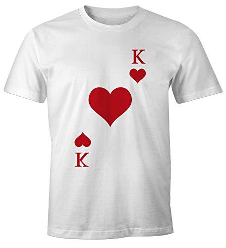 MoonWorks® Herren T-Shirt Kartenspiel Kostüm Spielkarten Gruppenkostüm Karten Fasching Karneval Faschingsshirt Herz König weiß 3XL