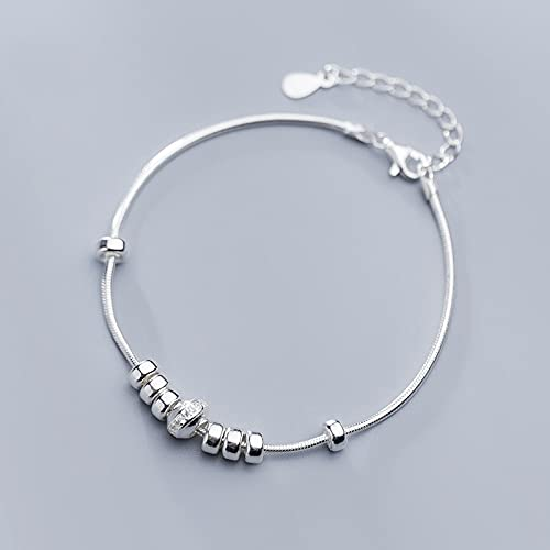 Silver Bracelet For Women 925 Silver,S925 Sterling Silver Circle Bracelet Smooth Ring Inlaid Zirconia Snake Chain 8.2&Quot;Fashion Charm Adjustable Bangle Jewellery For Ladies Mum Wife Friends Anniv