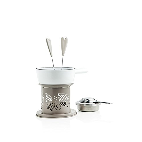 Brandani Stoneware/Inox 54038 Lot de 5 Fontaine de batteur de cœur couleur ivoire/taupe