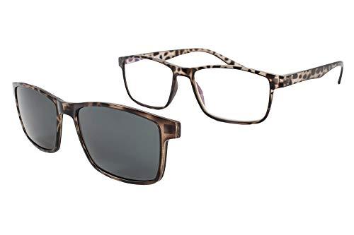 Lesebrille mit Sonnenmagnet - Presbyopiebrille - Müdes Sehvermögen - Unisex - Frau - Mann - 6016 (C4, 3.00 Dioptrien)