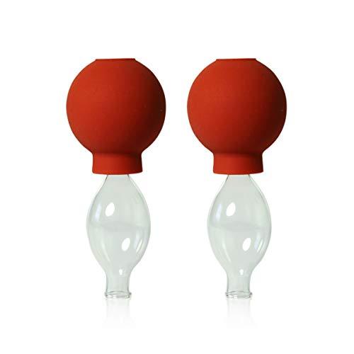 Lot de 2 cloches en verre avec boule 10 mm pour professionnels, medizinschen, feuerlosen ventouses, ventouse, lauschaer cloches en verre, verre original