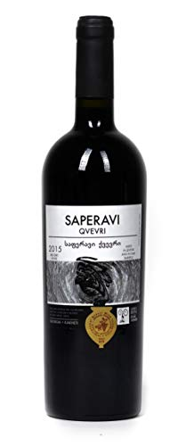 Georgischer Amphorenwein SAPERAVI Qvevri rot trocken - kachetische Weinbereitungsmethode, aus autochthone Rebsorte Saperavi, Appellation Kindzmarauli, 0,75L, Georgien