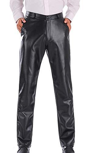 HaiDean leren broek voor heren, PU-leer, waterdicht en winddicht, moderne nonchalant losse kunstleren broek, zwart