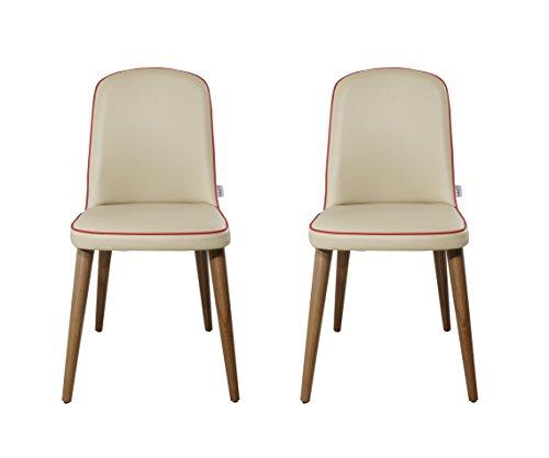 K&CO – Juego de 2 sillas Marina / Beige, Rojo y Madera