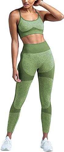 TAKIYA Workout Outfits for Women 2 Piece Yoga High Waist Leggings Seamless Sports Bra Tracksuits Cross Back Tank Top LGreen S