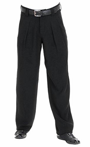HK Mandel Herren Bundfaltenhose im 50er 60er Jahre Herren Retro Vintage Stil in Schwarz, Model Boogie Größe 52