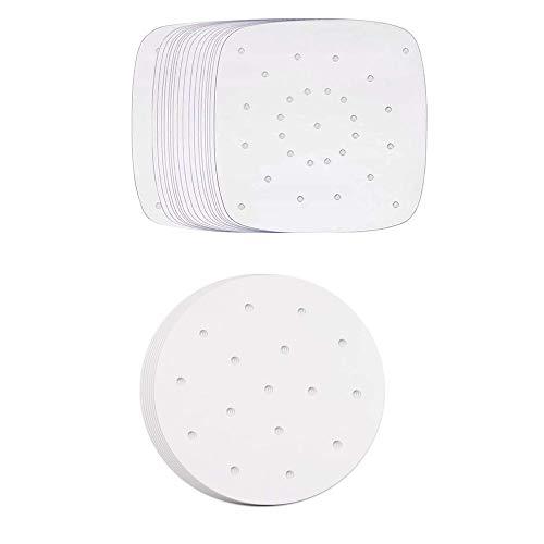 200 Stück Luftfritteus Papier, Dim Sum Papier, Backpapier Perforiertes Bambus Papier, für Luftfritteuse, Kochen, Backen, Dämpfen von Dessert, Dampfgaren von Brot (Weiß)