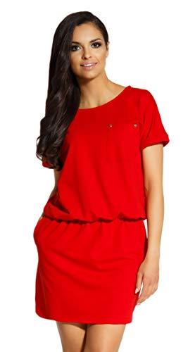Lemoniade Damen Sommerkleid in angesagtem Design Made in EU, Modell 2 Rot, M (38)