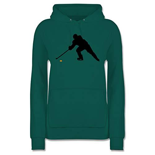 Eishockey - Hockey Player - L - Türkis - Eishockeyspieler - JH001F - Damen Hoodie und Kapuzenpullover für Frauen