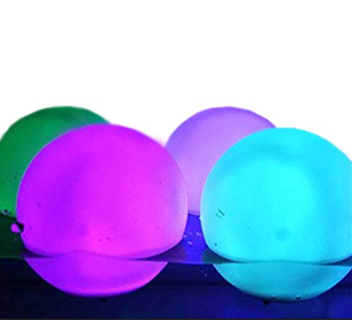 MicroTronixx Set of 12 Floating LED Light Up Mood Light Deco Ball Glow Orbs 3' Diameter Water Resistant Indoor/Outdoor Plus Spare Replacement Batteries Bundle
