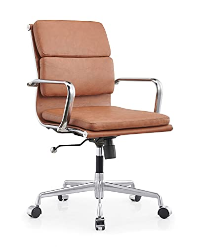 LUX Modern Soft pad managent Chair mid century Modern desk chair Brown Leather Office Chair Lazy boy office chair Conference room chairs Elements Ergonomic Pu Leather High Back Executive Office Chairs