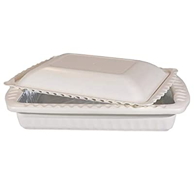 Foil Decor All-in-One Serving and Casserole Carrier for Foil Pans. Handles don't get hot/Lid can be used as a Bowl. (White) 2 Foil Pans Included