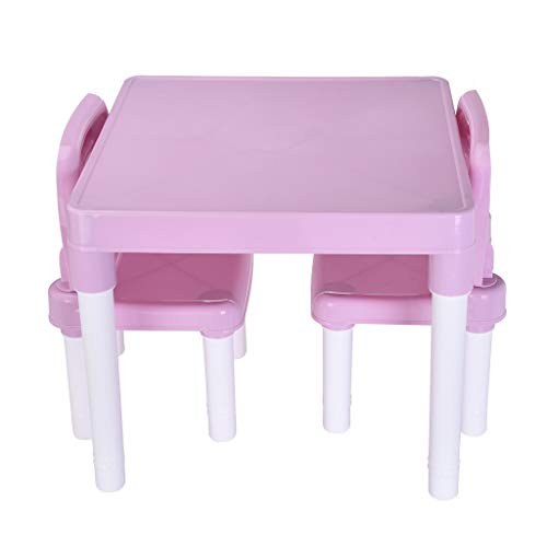 Ahomed Kids Table and 2 Chairs Set, Toddler Activity Chair Best for Toddlers Lego, Reading, Train, Art Play-Room - Plastic Children's Table for Boys Or Girls (Table 20x20x17.31inch, Pink)