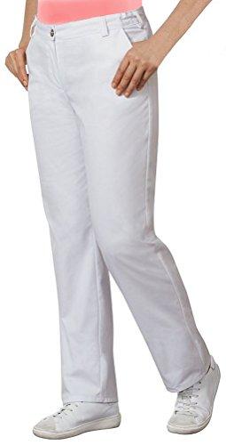 clinicfashion 10627002 Stretch Hose Damen weiß, elastischer Bund, Normalgröße, Mischgewebe, Größe 42