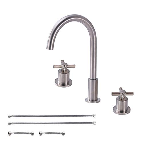 KES Widespread Faucet Lead-Free Brass 2-handle 8 inch Deck Mount Vanity Sink Bathtub Bathroom Sink Faucet Modern Brushed Nickel, L4304LF-2