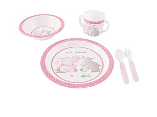 Bieco Baby Geschirrset mit Tiermotiv | 5-teiliges Baby Geschirr | Kindergeschirr aus Melamin | Geschirr Baby für Kleinkinder | Baby Essen Set | Babygeschirr Set | rosa