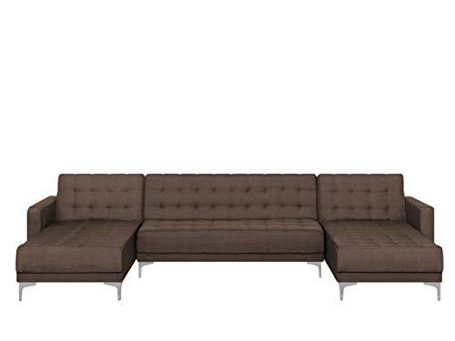 Modular U-Shaped Sofa Bed 3 Seater 2 Chaises Brown Fabric Tufted Aberdeen