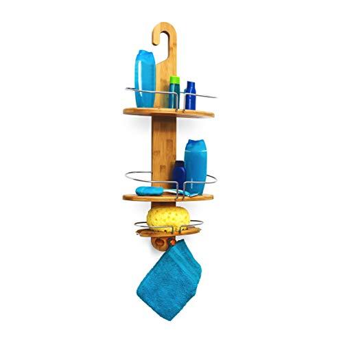 Relaxdays Étagère de douche en bambou HxlxP : 71 x 29,5 x 13,5 cm Serviteur de douche salle de bain suspendre 3 compartiments 2 crochets, nature