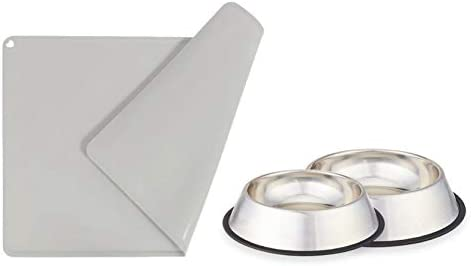 GOHOO PET 2 Pack Dog Bowls No Spill Non Skid Stainless Steel Dog and Cat Food Bowls with Pet product image