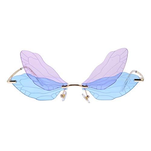 LUOEM Randlose Sonnenbrille Libellenflügel Unregelmäßige Neuheit Flügel Partybrille Blau Lila Unisex Mode Sonnenbrille Party Maskerade Karneval Musikfestival Kostüm Zubehör Foto Requisiten