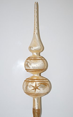 Weihnachtsbaumspitze Groß 35cm in Ice Champagner Gold Komet Baumspitze Spitze Tannenbaumspitze Christbaumspitze Weihnachtsbaum Christbaum Tannenbaum Christmas Tree Top