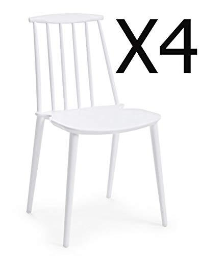PEGANE Lot de 4 chaises Coloris Blanc - Dim : L 43 x P 40 x H 53 cm