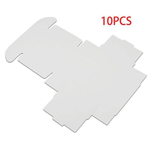 10 Stück Papierbox Karton Handgemachte Seifenschachteln Geschenkboxen Verpackung Schmuckbox Heimdekoration (Farbe: Weiß, Größe: 3,7 x 3,7 x 2 cm)