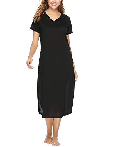 Aibrou Damen Einfarbige Nachthemd V-Ausschnitt Kurzarm Lange Nachtkleid Schwarz XL