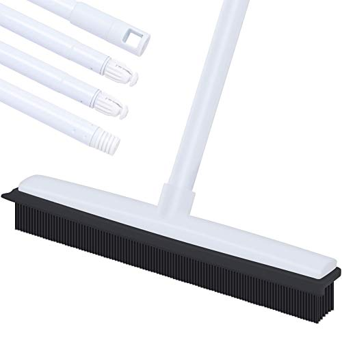 Push Broom, Soft Bristle Rubber Sweeper Squeegee Edge with 60 inches Adjustable Long Handle, Non Scratch Bristle Broom for Pet Dog Hair Carpet Hardwood Floor Tile Windows Cleaning (White)