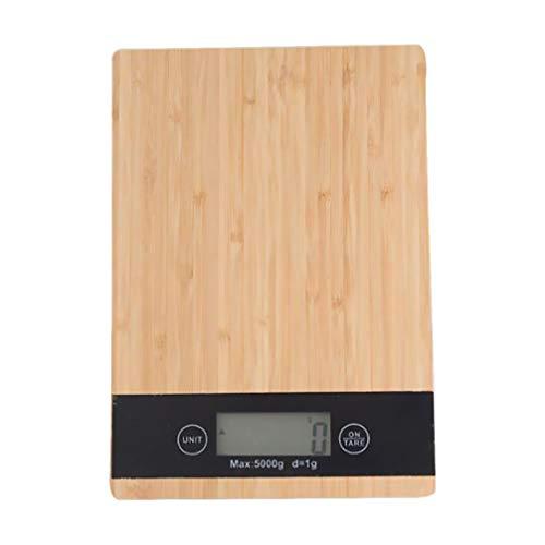 Hemoton Digitale Küchenwaage aus Bambus, zum Kochen, Lebensmittelwaage, ultra-schlankes Design, LCD-Display, kompakte Aufbewahrung, leicht zu reinigen