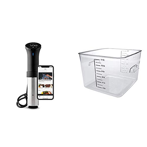Anova Culinary AN500-US00 Sous Vide Precision Cooker (WiFi), 1000 Watts | Black and Silver & Rubbermaid Commercial Products Plastic Space Saving Square Food Storage Container, 12 Quart, Clear
