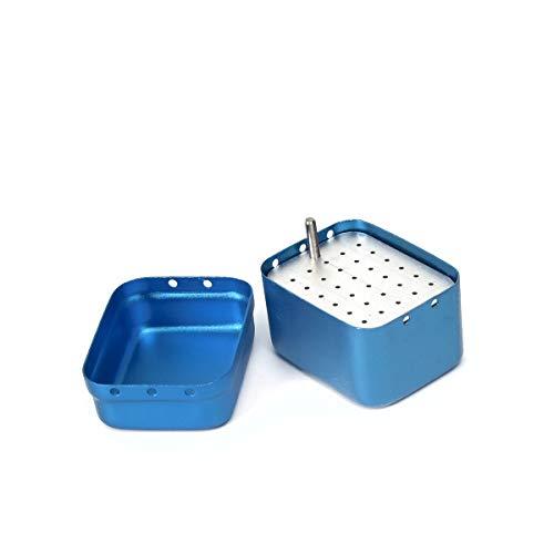 30Holes Dental Endo Block, Bur Sterilization Organizer, Aluminum Autoclavable Burs Flies Holder, Disinfection Container (Blue)