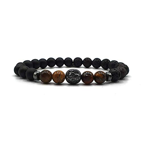 KARDINAL WEIST Tigerauge - Onyx - Lava - Armband mit Hämatit Löwen Perle, King - Lion - Schmuck für Herren, Kraftier - Schutz - Mut - Sicherheit (XL)