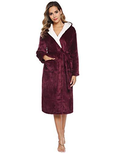 Abollria Coral Fleece Badjas, Dames Luxe Badjas Dressing Jurk Wrap Housecoat Badjas Warm Zacht & Gezellige Dressing Jurk voor Vrouwen