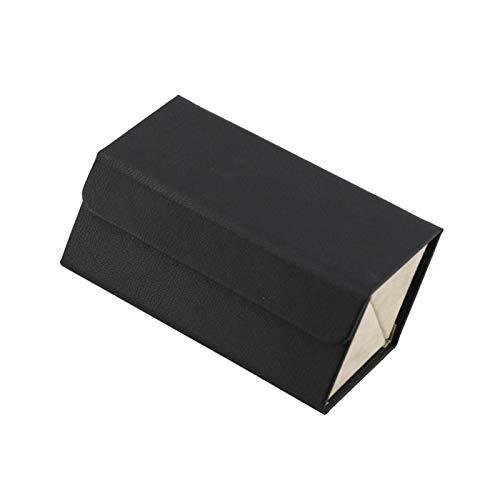 Saicowordist Organizador de almacenamiento de gafas de sol, funda plegable de piel sintética con compartimentos, cajas de exhibición multifunción para viajes en el hogar (cubo negro)