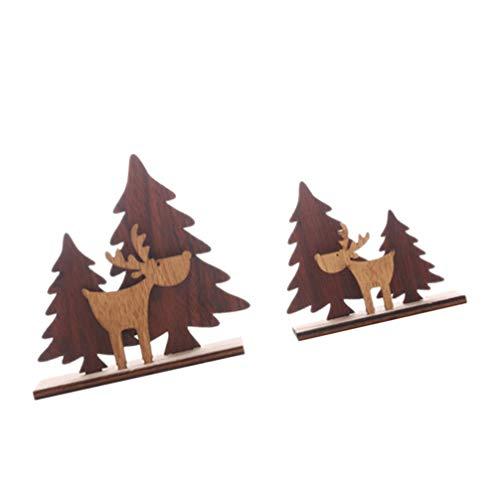 LIOOBO 2 stücke Weihnachten Holz elch Ornamente Weihnachtsbaum Hirsch Figur montiert Puzzle Tabletop DIY Handwerk Geschenke für ferienhaus Shop büro Dekoration (l)