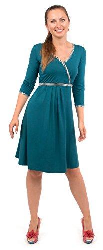 Viva la Mama blaues Kleid für Schwangere Stillkleid Damen Umstandsmode Kleid festlich Mamamode – Wanda Petrolblau Streifen - 2
