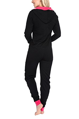 maluuna Damen Jumpsuit Onesie Jogger Hausanzug Overall in hochwertiger Sweater-Qualität mit Bündchen am Arm- und Beinabschluss, Farbe:schwarz, Größe:M - 4