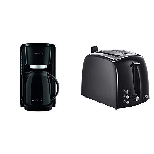 Rowenta CT3808 Adagio Thermo Kaffeemaschine, 8 bis 12 Tassen 1.25 L, schwarz & Russell Hobbs Toaster Textures+, 6 einstellbare Bräunungsstufe + Auftau- & Aufwärmfunktion, 850W, Toaster schwarz
