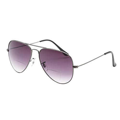 LianSan Bifocal Sunreaders voor heren dames 70s/80S Retro Designer en Pilot stijl zonnebril Shades UV400 Lens L8022 200Dioptre Grijs
