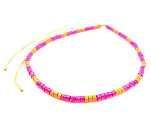 Collar surfero de coco, étnico, madera, perlas de bambú, tribal, colgante para hombre, mujer, niño, rosa y naranja