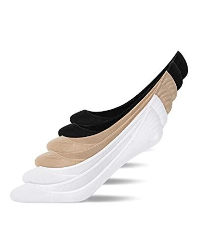 Snocks Damen und Herren Low Cut Invisible Füßlinge kurze Socken (2x Schwarz + 2x Weiß + 2x Nude, 39-42)