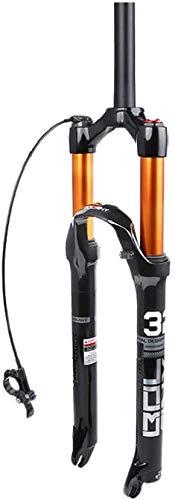 Forcella ammortizzata per bicicletta MTB da 29 pollici, molla ammortizzatore in lega di alluminio Forcella anteriore per bici Forcella diritta per accessori per biciclette (blocco remoto)