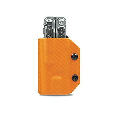 Clip & Carry Kydex Multitool Sheath for LEATHERMAN FREE P4 - Made in USA (Multi-tool not included) EDC Multi Tool Holder Holster Cover (Orange Carbon Fiber)