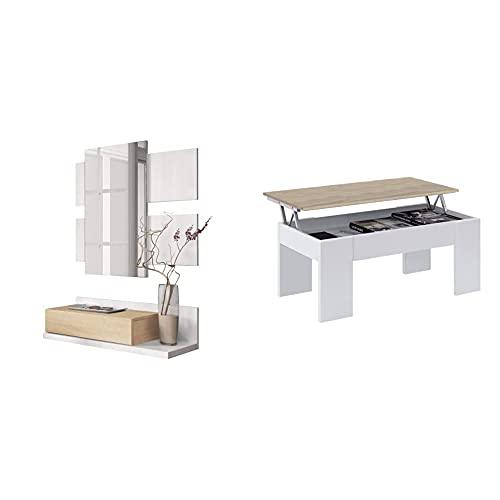 Habitdesign Recibidor con Cajón Y Espejo, Mueble De Entrada, Modelo Tekkan +...