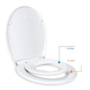 Tapa de WC, TACKLIFE DBTS02BJ Tapa de inodoro con cierre suave y lenta para niños, Tapa de inodoro con sencillo montaje para familia, Tapa de Indorno Familiar Desmontable de Plástico Duro