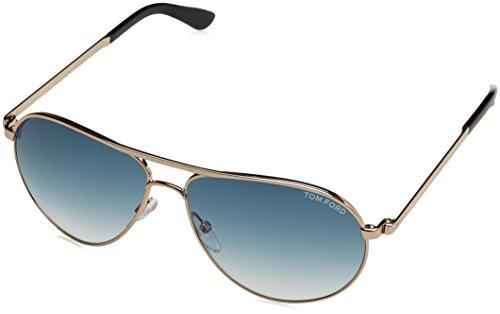 Tom Ford Herren FT0144 28W 58 Sonnenbrille, Gold (ORO Rosa Lucido/Blu Grad)